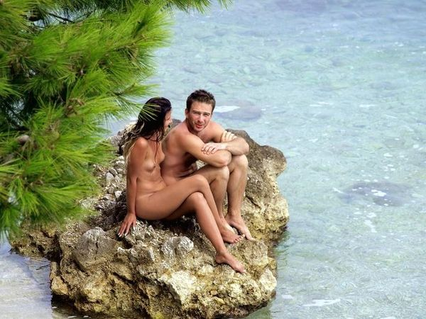 naturists and nudists naked topless on the beach (3240)