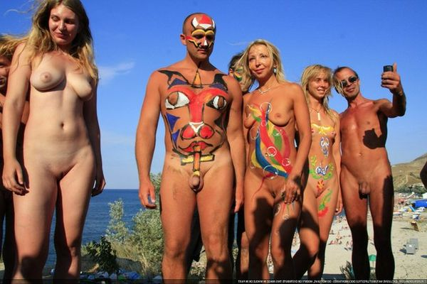 naturists and nudists naked topless on the beach (3779)