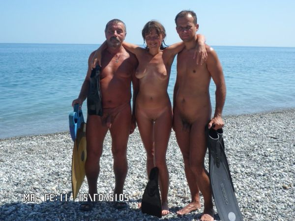 naturists and nudists naked topless on the beach (3859)